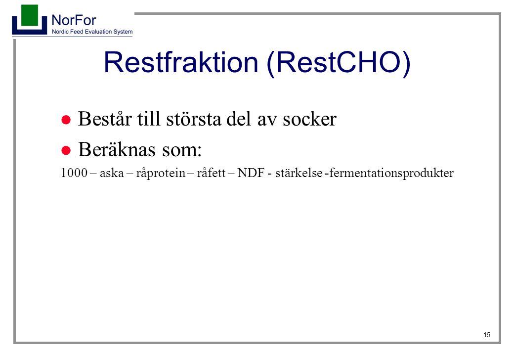 15 Restfraktion (RestCHO) Består till största del av socker Beräknas som: 1000 – aska – råprotein – råfett – NDF - stärkelse -fermentationsprodukter