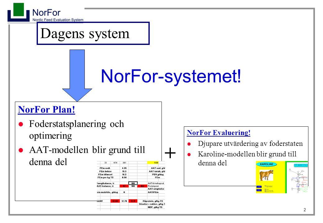 2 NorFor-systemet! NorFor Plan! Foderstatsplanering och optimering AAT-modellen blir grund till denna del NorFor Evaluering! Djupare utvärdering av fo
