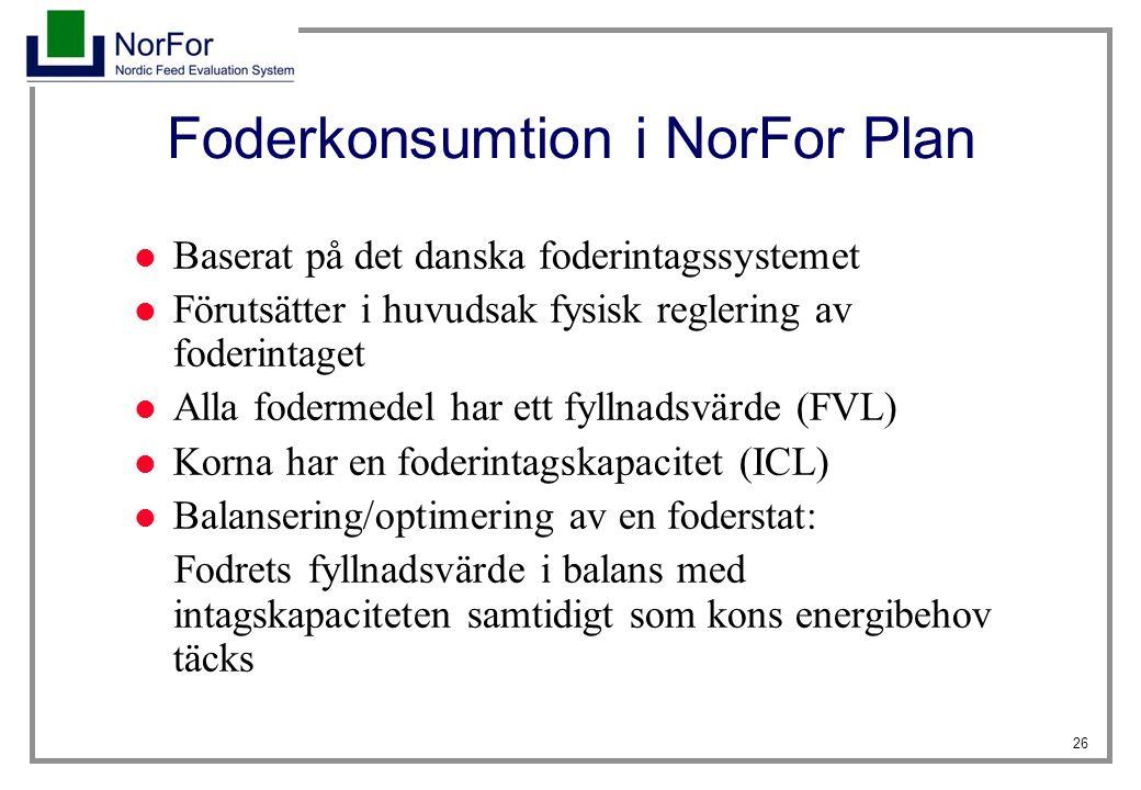 26 Foderkonsumtion i NorFor Plan Baserat på det danska foderintagssystemet Förutsätter i huvudsak fysisk reglering av foderintaget Alla fodermedel har