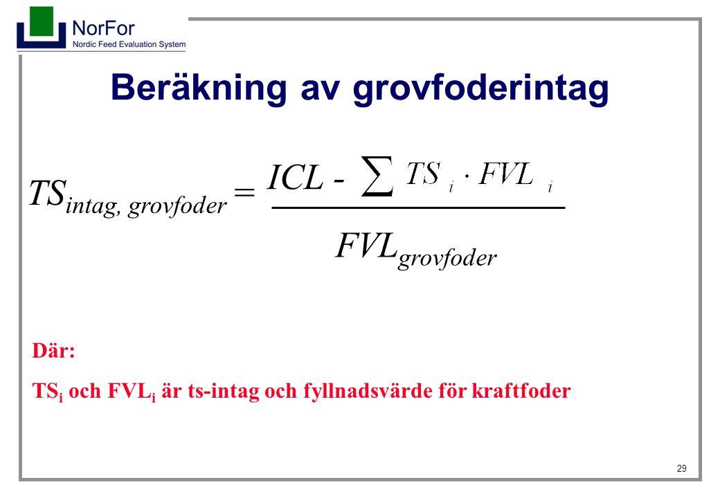 29 Beräkning av grovfoderintag ICL - FVL grovfoder TS intag, grovfoder = Där: TS i och FVL i är ts-intag och fyllnadsvärde för kraftfoder