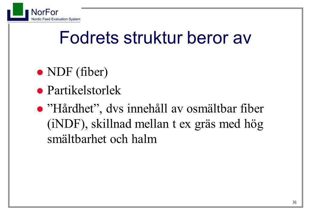 """36 Fodrets struktur beror av NDF (fiber) Partikelstorlek """"Hårdhet"""", dvs innehåll av osmältbar fiber (iNDF), skillnad mellan t ex gräs med hög smältbar"""