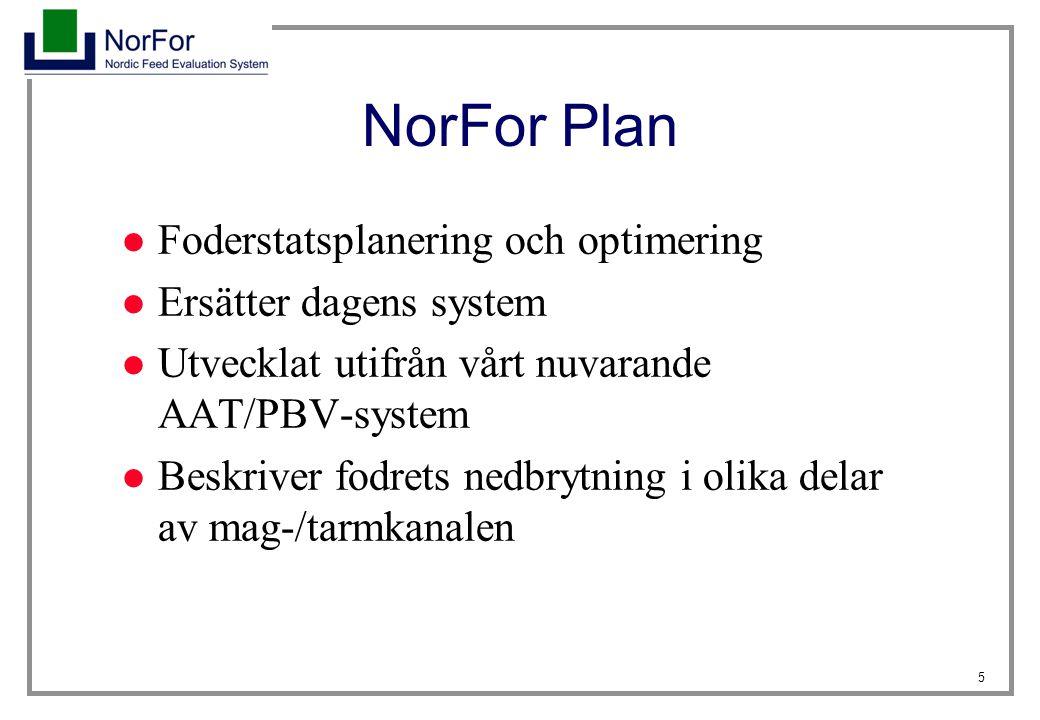 46 NorFor Plan i praktiken Flera nya faktorer påverkar foderstatens näringsinnehåll skillnader mellan foderstater i NorFor Plan och nuvarande system Skillnader beror på: - Kratfoderandel (NDF smb, mikrob-AAT) - Nedbrytningshastighet för NDF (energi, AAT) - Jäsningsprodukter (AAT, foderintag) - Foderintag (energi, mikrob-AAT)
