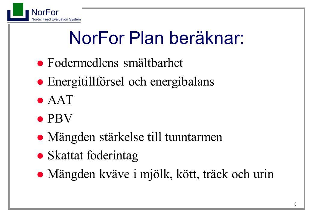 8 NorFor Plan beräknar: Fodermedlens smältbarhet Energitillförsel och energibalans AAT PBV Mängden stärkelse till tunntarmen Skattat foderintag Mängde
