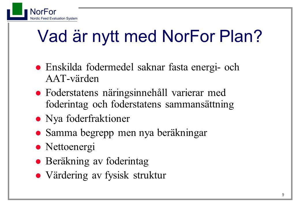 9 Vad är nytt med NorFor Plan? Enskilda fodermedel saknar fasta energi- och AAT-värden Foderstatens näringsinnehåll varierar med foderintag och foders