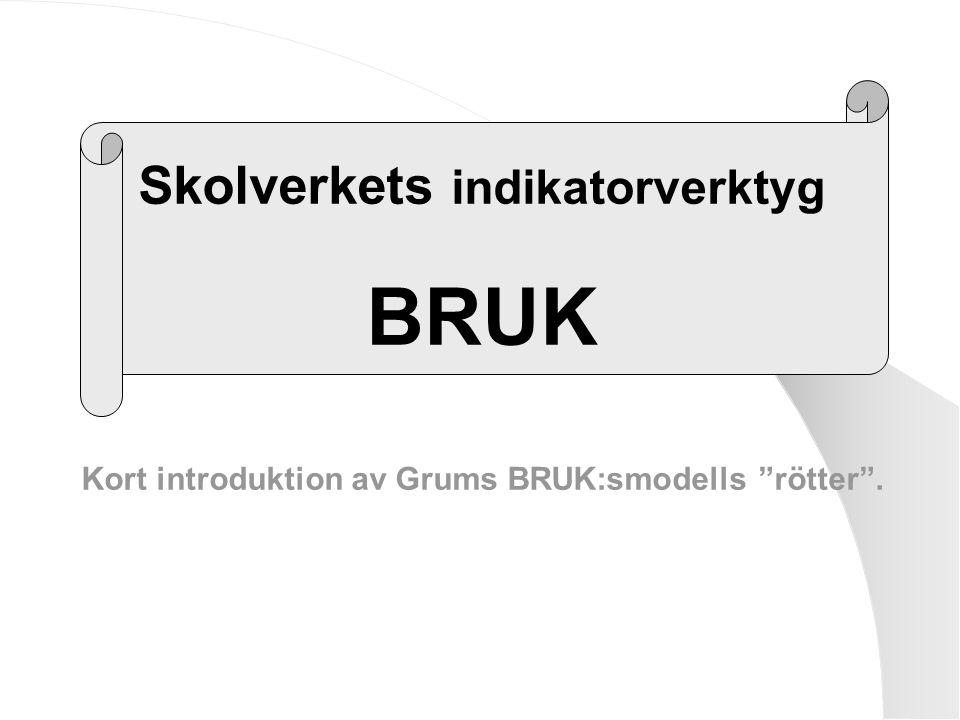 """Skolverkets indikatorverktyg BRUK Kort introduktion av Grums BRUK:smodells """"rötter""""."""