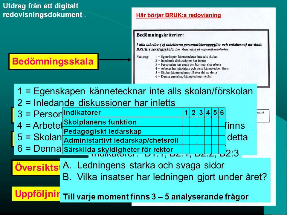 Utdrag från ett digitalt redovisningsdokument. InstruktionBedömningsskalaÖversiktstabell Uppföljningsfrågor Indikatorer 1 = Egenskapen kännetecknar in