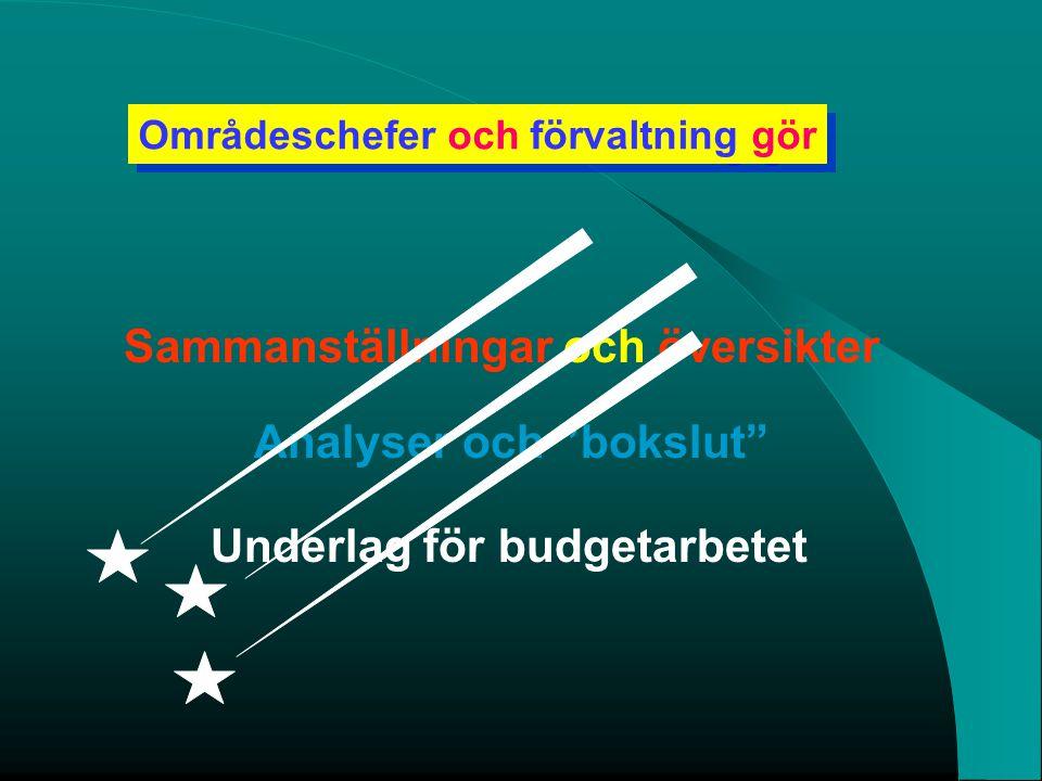 """Områdeschefer och förvaltning gör Sammanställningar och översikter Underlag för budgetarbetet Analyser och """"bokslut"""""""