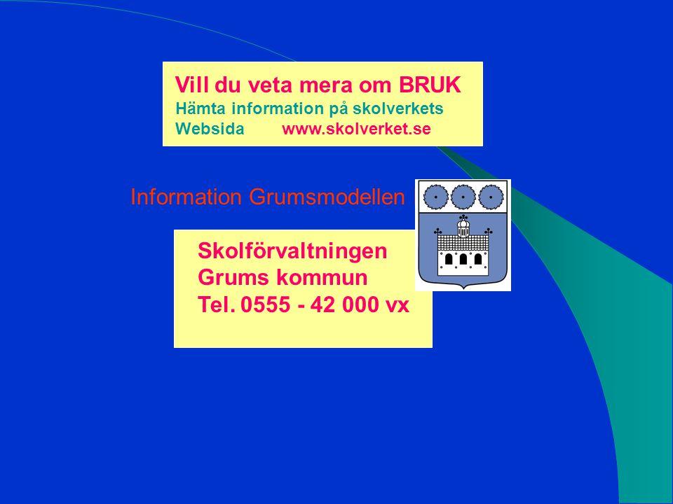 Vill du veta mera om BRUK Hämta information på skolverkets Websida www.skolverket.se Information Grumsmodellen hos: Skolförvaltningen Grums kommun Tel