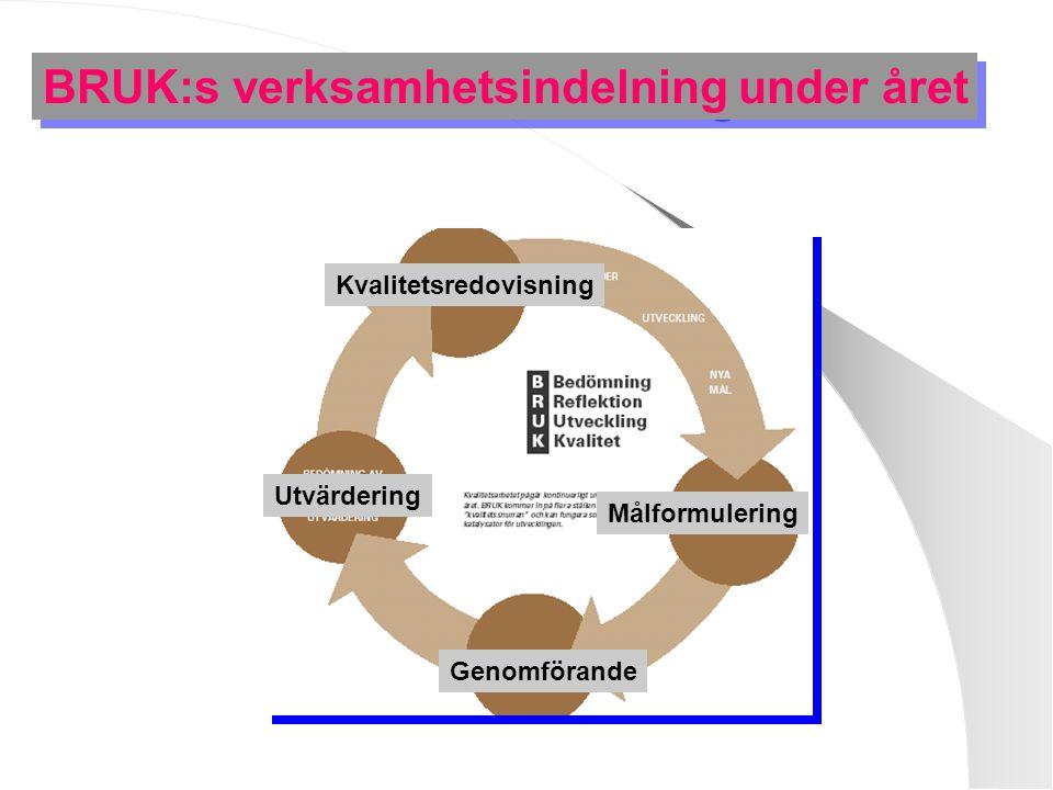 BRUK:s verksamhetsindelning under året Målformulering Genomförande Utvärdering Kvalitetsredovisning