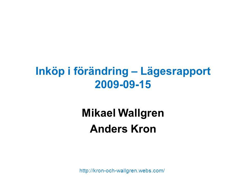 Inköp i förändring – Lägesrapport 2009-09-15 Mikael Wallgren Anders Kron http://kron-och-wallgren.webs.com/