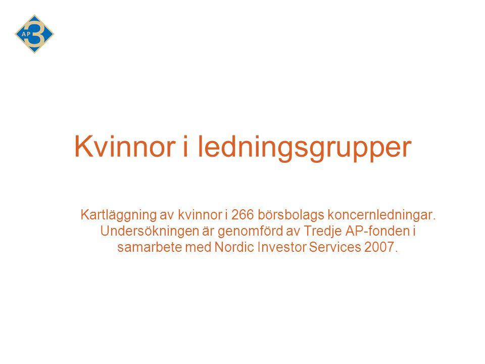 Kvinnor i ledningsgrupper Kartläggning av kvinnor i 266 börsbolags koncernledningar.