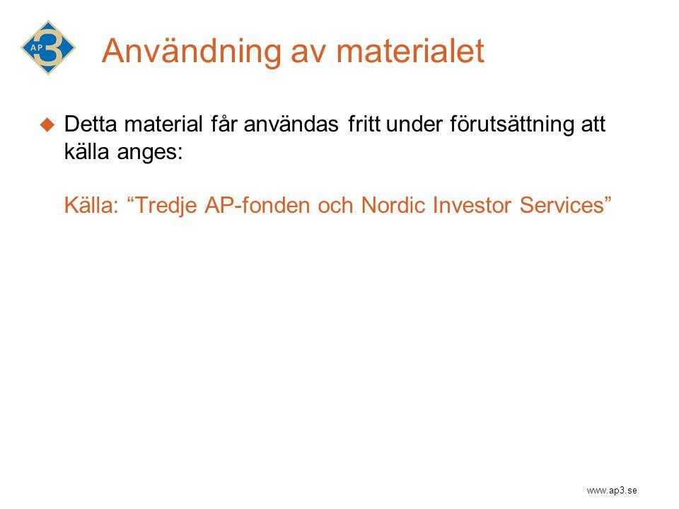 www.ap3.se Användning av materialet  Detta material får användas fritt under förutsättning att källa anges: Källa: Tredje AP-fonden och Nordic Investor Services