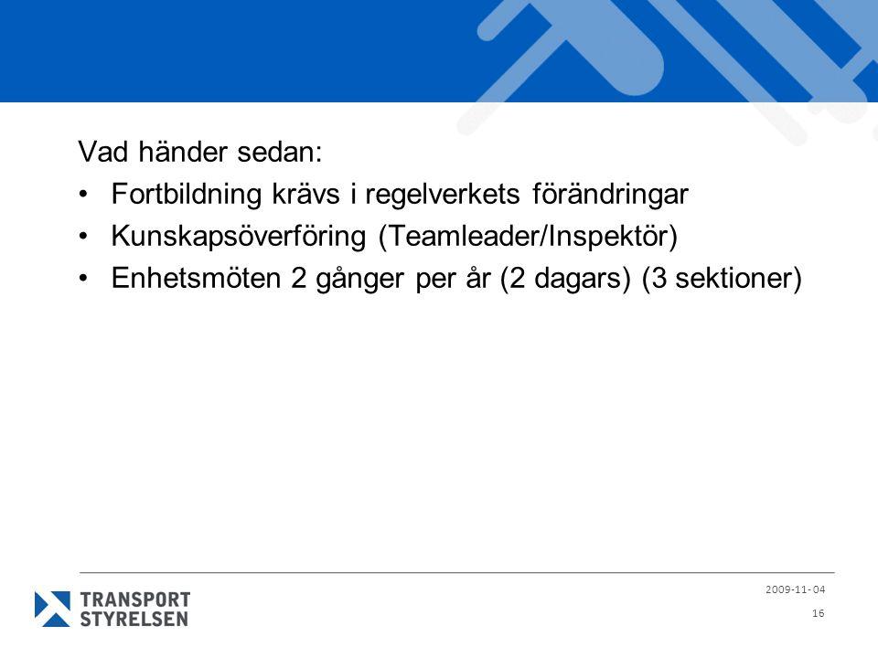 Vad händer sedan: Fortbildning krävs i regelverkets förändringar Kunskapsöverföring (Teamleader/Inspektör) Enhetsmöten 2 gånger per år (2 dagars) (3 s