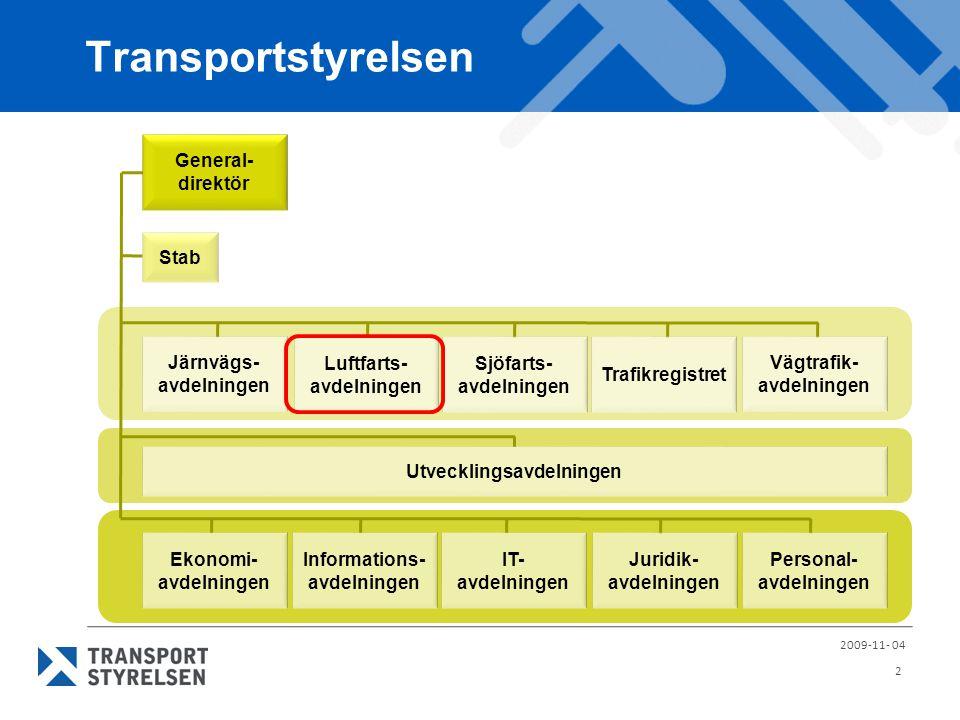 Transportstyrelsen 2009-11- 04 2 Generaldirektör Staffan Widlert Ekonomi- avdelningen Tommy Spångö Informations- avdelningen Marie Lindström IT- avdel