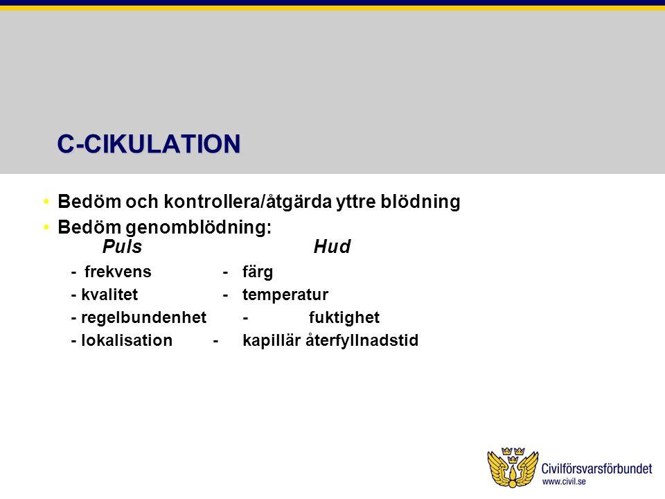 C-CIKULATION Bedöm och kontrollera/åtgärda yttre blödning Bedöm genomblödning: Puls Hud -frekvens -färg - kvalitet -temperatur - regelbundenhet-fuktig