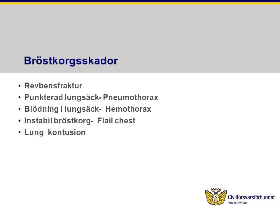 Bröstkorgsskador Revbensfraktur Punkterad lungsäck- Pneumothorax Blödning i lungsäck- Hemothorax Instabil bröstkorg- Flail chest Lung kontusion
