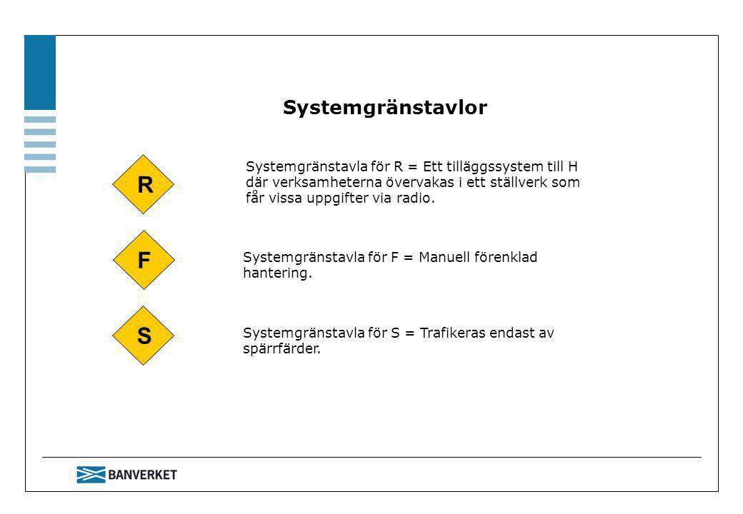 Systemgränstavlor Systemgränstavla för R = Ett tilläggssystem till H där verksamheterna övervakas i ett ställverk som får vissa uppgifter via radio.
