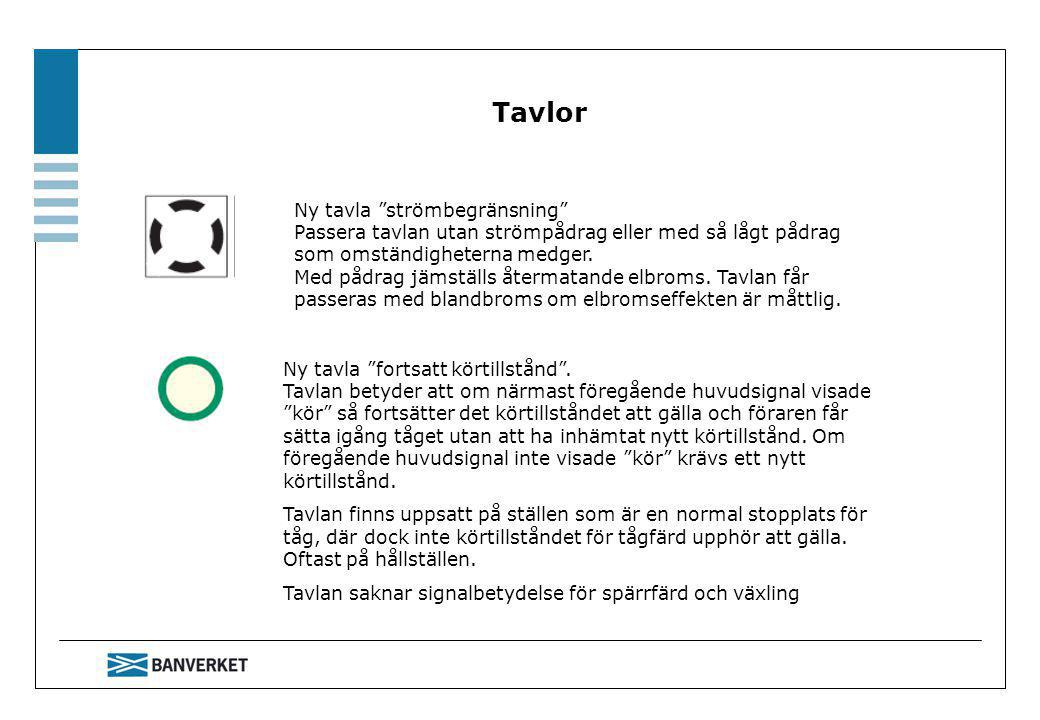 Tavlor Ny tavla strömbegränsning Passera tavlan utan strömpådrag eller med så lågt pådrag som omständigheterna medger.
