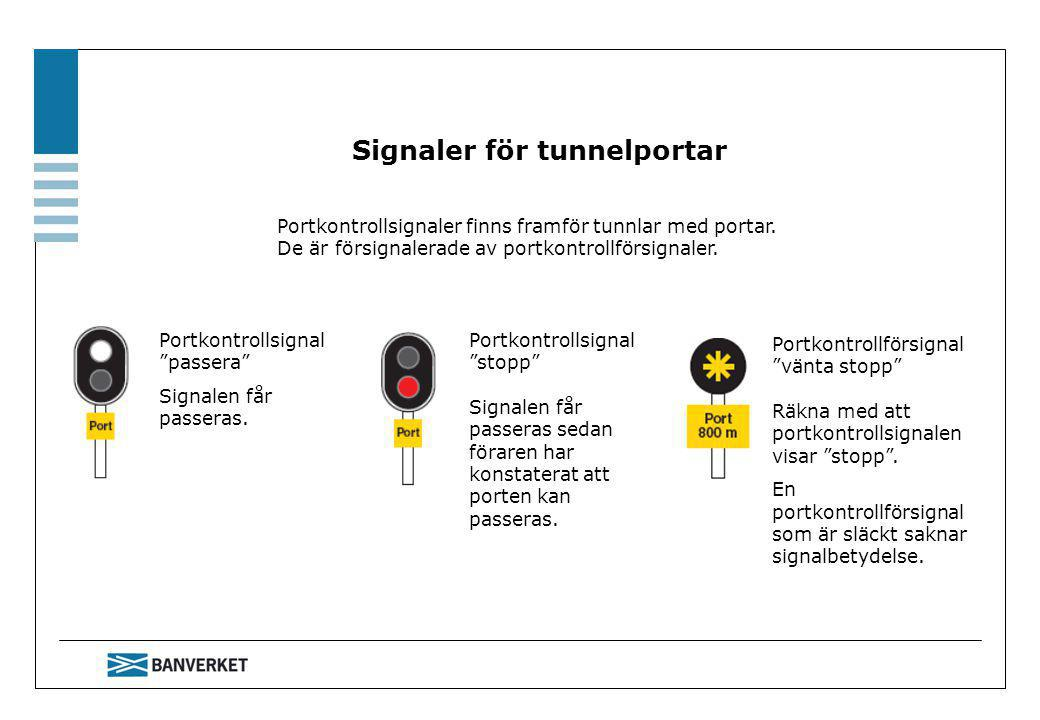 Signaler för tunnelportar Portkontrollsignaler finns framför tunnlar med portar.