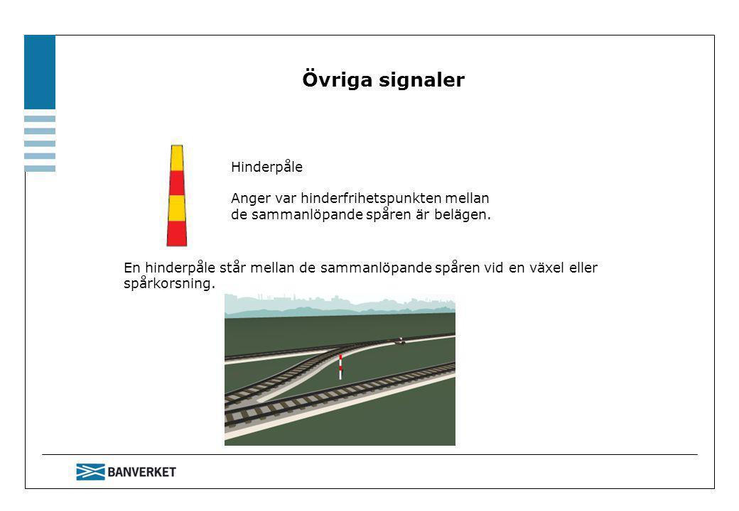 Övriga signaler En hinderpåle står mellan de sammanlöpande spåren vid en växel eller spårkorsning.