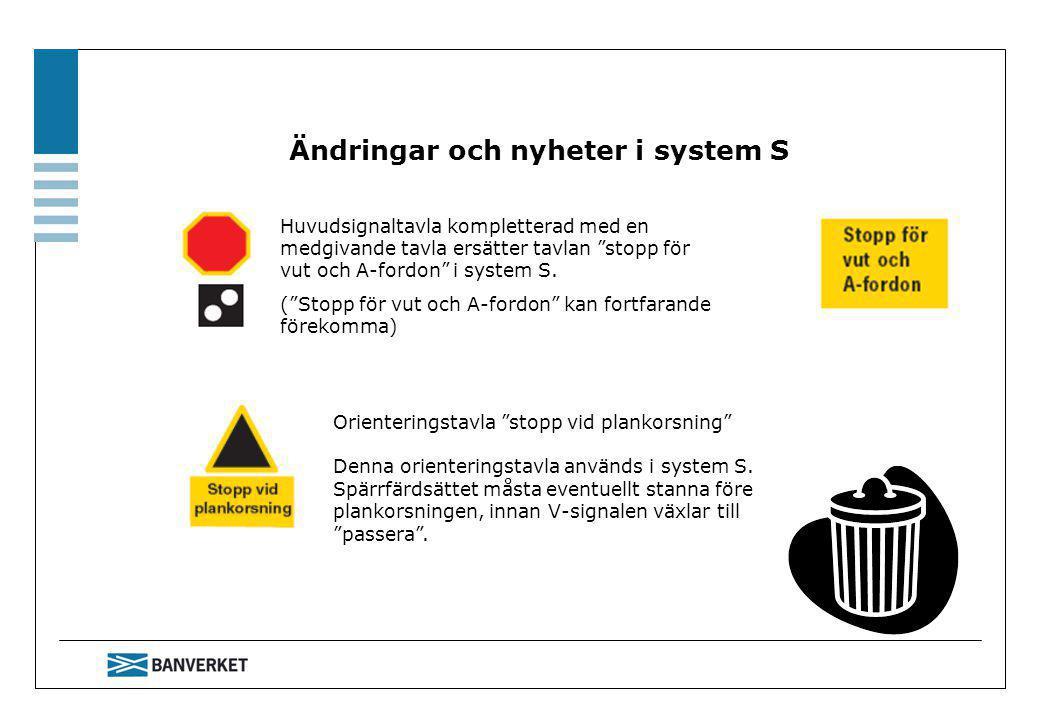 Ändringar och nyheter i system S Huvudsignaltavla kompletterad med en medgivande tavla ersätter tavlan stopp för vut och A-fordon i system S.