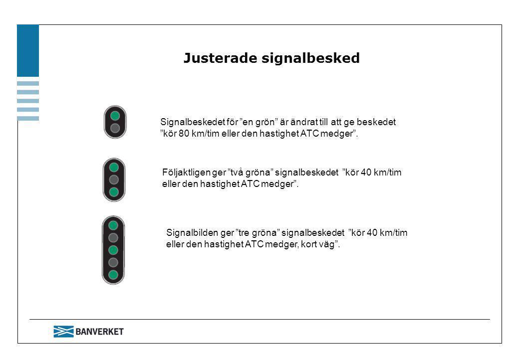 Ändrat agerande vid vänta stopp Försignaleringen i dessa båda signaler visar beskedet vänta stopp .