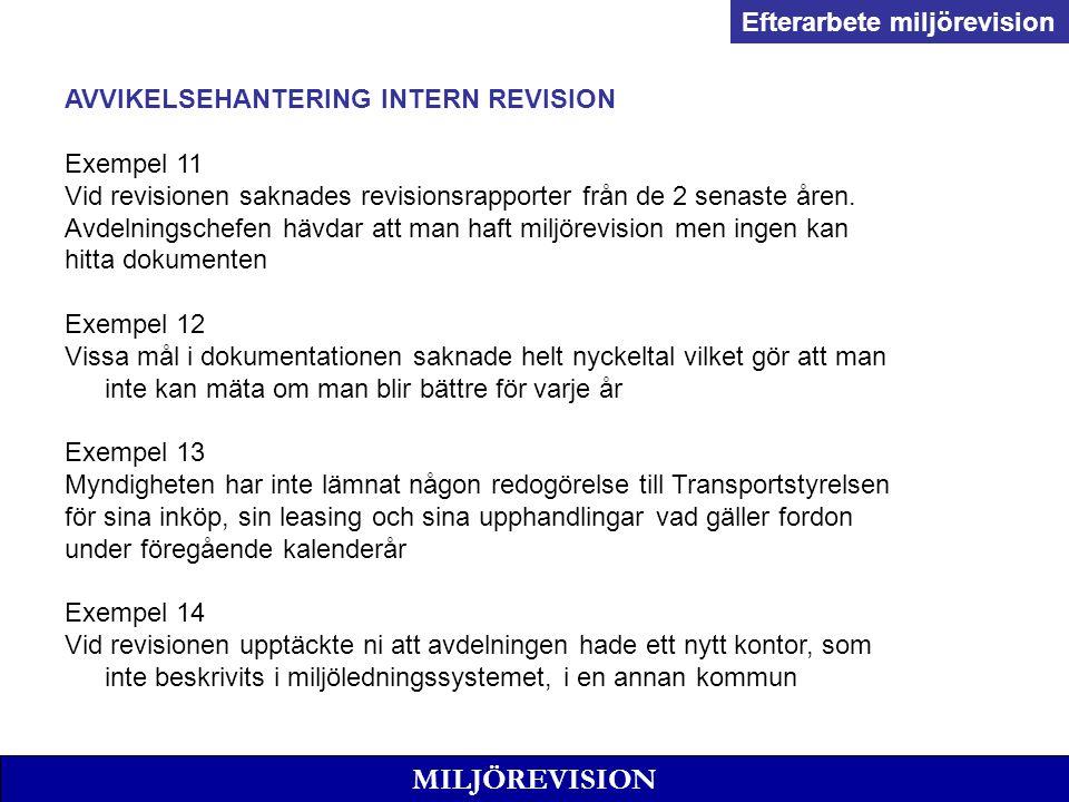 MILJÖREVISION AVVIKELSEHANTERING INTERN REVISION Exempel 11 Vid revisionen saknades revisionsrapporter från de 2 senaste åren.
