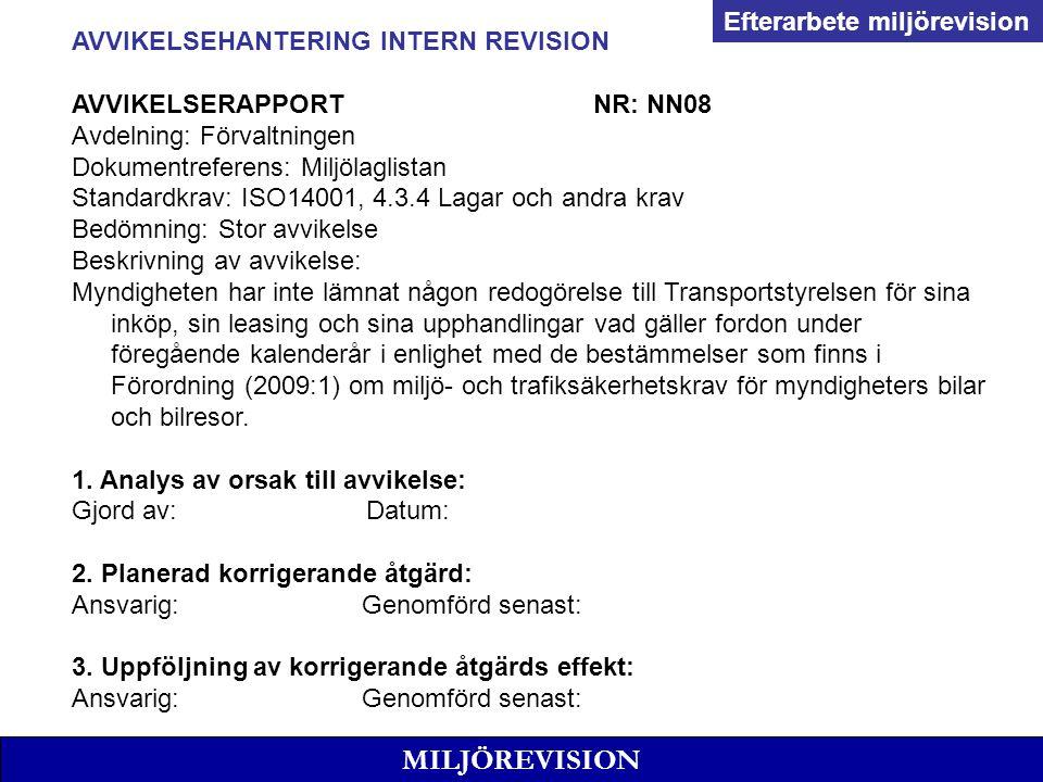 MILJÖREVISION AVVIKELSEHANTERING INTERN REVISION AVVIKELSERAPPORTNR: NN08 Avdelning: Förvaltningen Dokumentreferens: Miljölaglistan Standardkrav: ISO1
