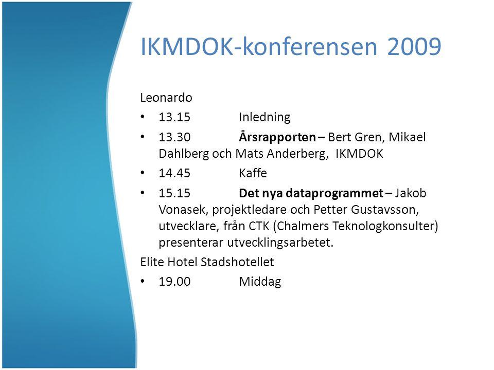 IKMDOK-konferensen 2009 Leonardo 13.15Inledning 13.30Årsrapporten – Bert Gren, Mikael Dahlberg och Mats Anderberg, IKMDOK 14.45Kaffe 15.15 Det nya dataprogrammet – Jakob Vonasek, projektledare och Petter Gustavsson, utvecklare, från CTK (Chalmers Teknologkonsulter) presenterar utvecklingsarbetet.