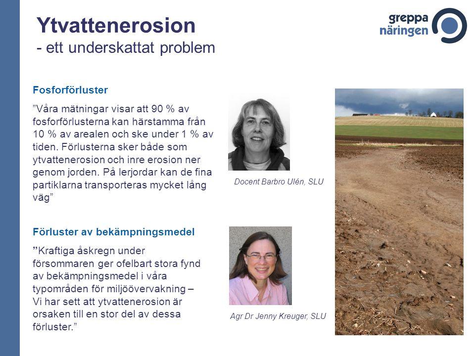 Ytvattenerosion - ett underskattat problem Fosforförluster Våra mätningar visar att 90 % av fosforförlusterna kan härstamma från 10 % av arealen och ske under 1 % av tiden.