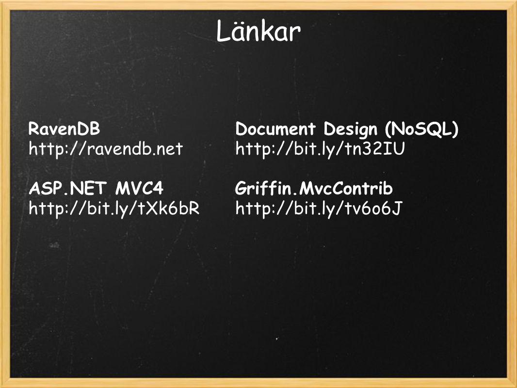 Länkar RavenDB http://ravendb.net ASP.NET MVC4 http://bit.ly/tXk6bR Document Design (NoSQL) http://bit.ly/tn32IU Griffin.MvcContrib http://bit.ly/tv6o6J