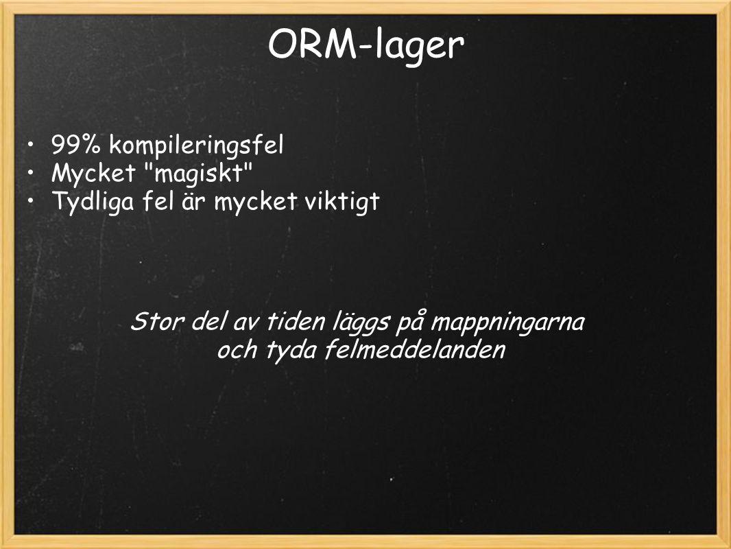 ORM-lager 99% kompileringsfel Mycket magiskt Tydliga fel är mycket viktigt Stor del av tiden läggs på mappningarna och tyda felmeddelanden