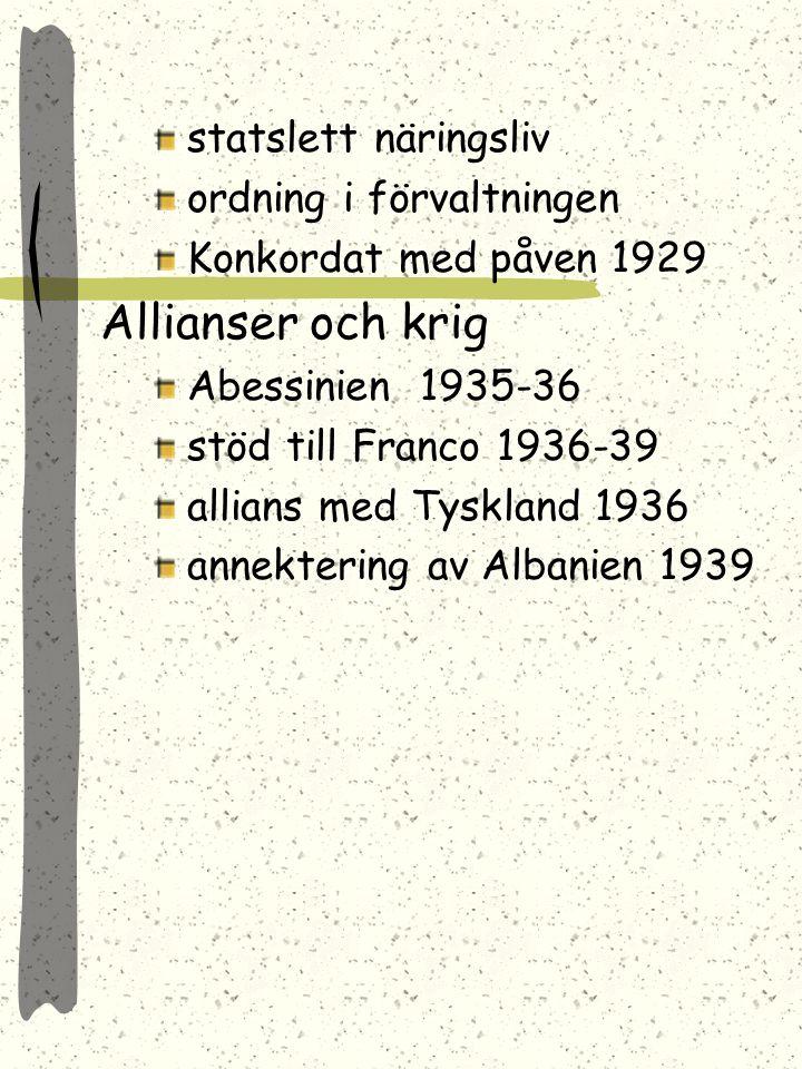 Viktor Emanuel III Viktor Emanuel III låter M. bilda regering M. får stora maktbefogenheter och efter valet 1924 får han 2/3 av parlamentet Mål: stärk