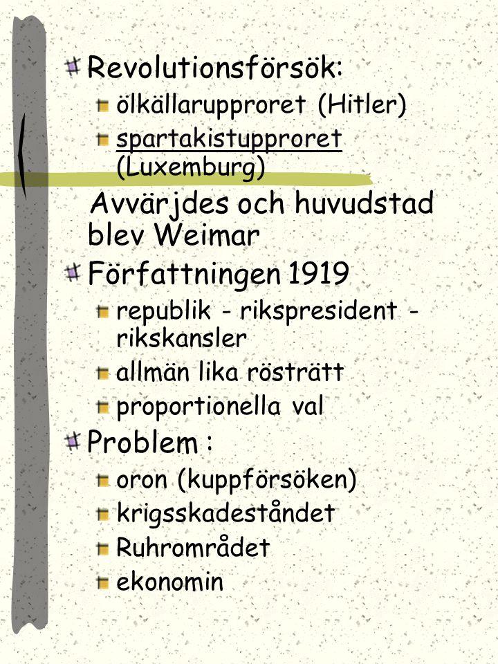 TYSKLAND Weimarrepubliken 1919-33 1918 revolution och kejsaren avsatteskejsaren Typiskt: fattigdom, nöd, oro, arbetslöshet = radikala rörelser