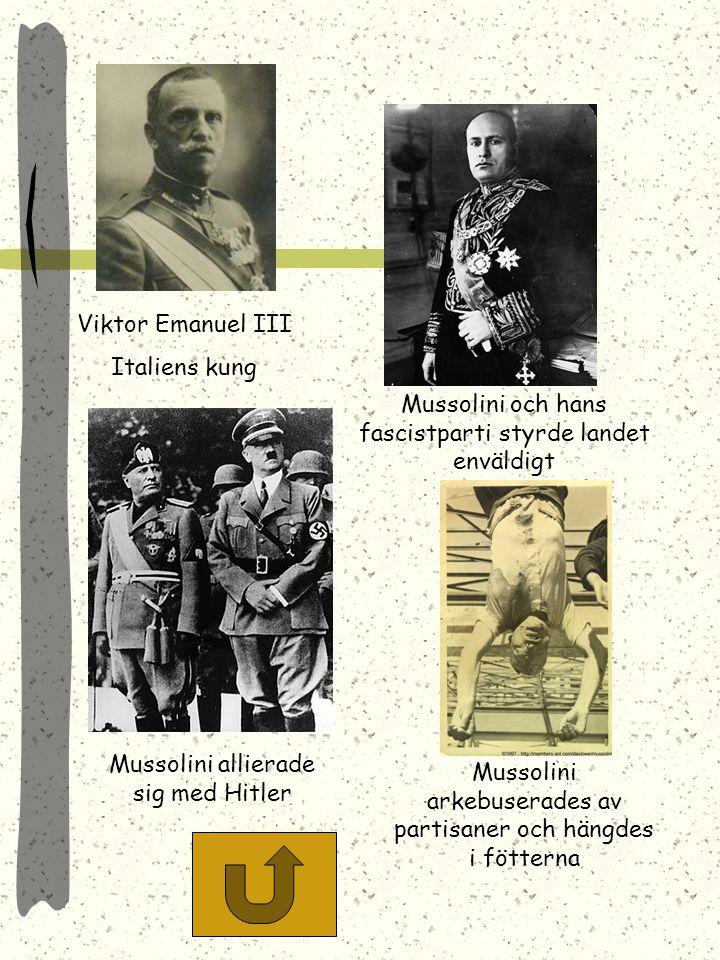Mussolinis fascistflagga. Spöknippen (fasces) som togs från gamla Rom gav partiet dess namn. Svartskjortornas (fascisternas)marsch till Rom resulterad