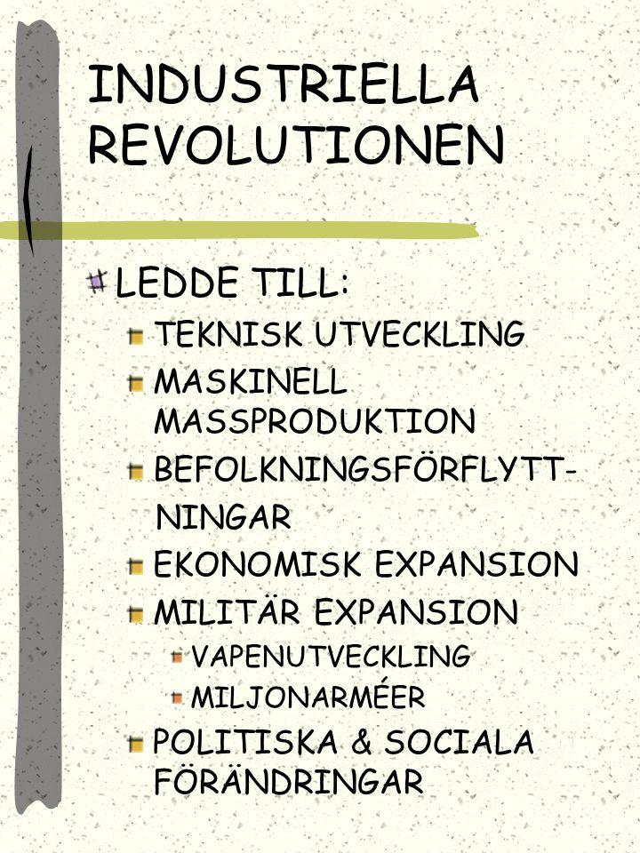 INDUSTRIELLA REVOLUTIONEN LEDDE TILL: TEKNISK UTVECKLING MASKINELL MASSPRODUKTION BEFOLKNINGSFÖRFLYTT- NINGAR EKONOMISK EXPANSION MILITÄR EXPANSION VAPENUTVECKLING MILJONARMÉER POLITISKA & SOCIALA FÖRÄNDRINGAR