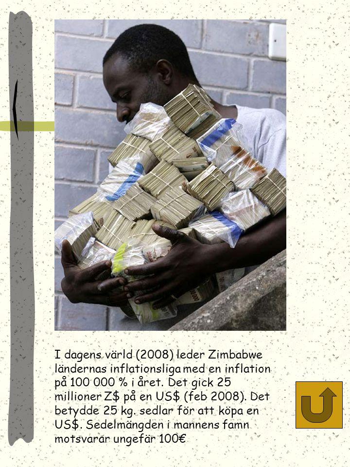 Tyska hyperinflationen gjorde att det bl.a. var billigare att tapetsera med sedlar än att köpa tapet