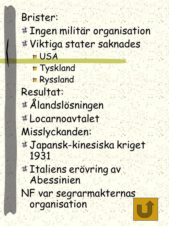 Nationernas förbund 1919-39 (46) Placerades i Geneve Organ: Församlingen (medlemsstater) Rådet (permanenta + valda) Sekretariatet Mål: Bevara världsfr