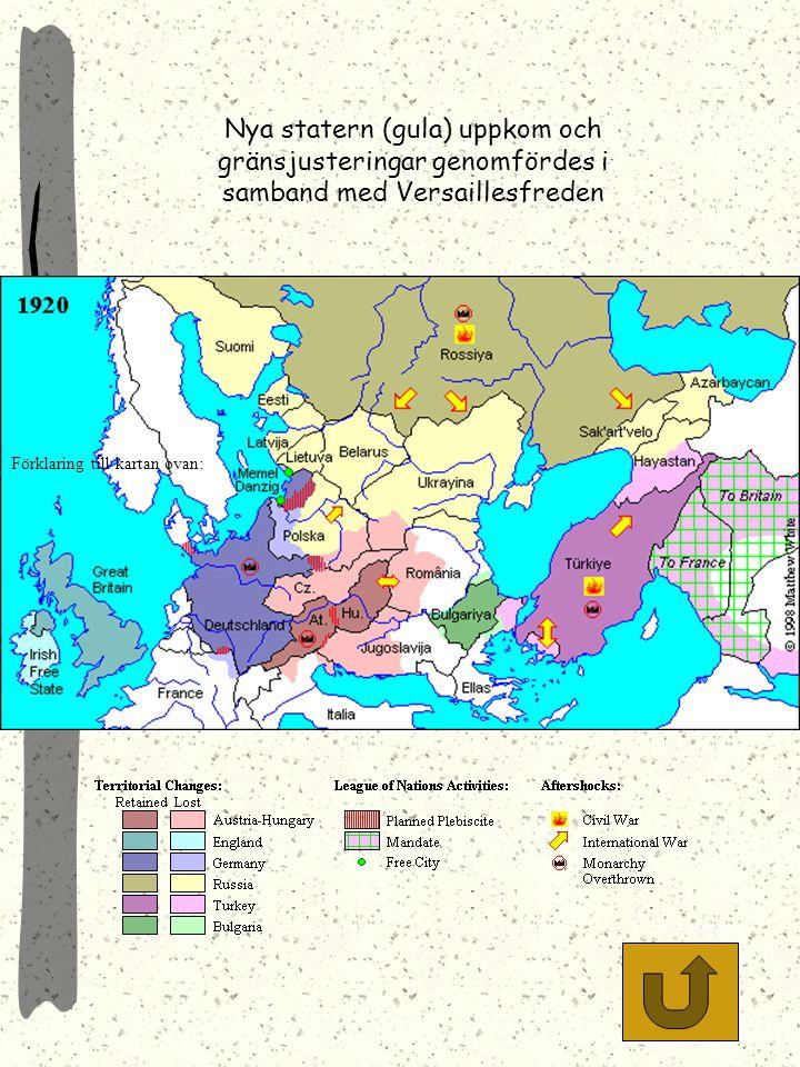 Tyska landförluster i Versaillefreden. Obs! Att följden blev ett tudelat Tyskland med en polsk korridor som skilde Ostpreussen från moderriket.