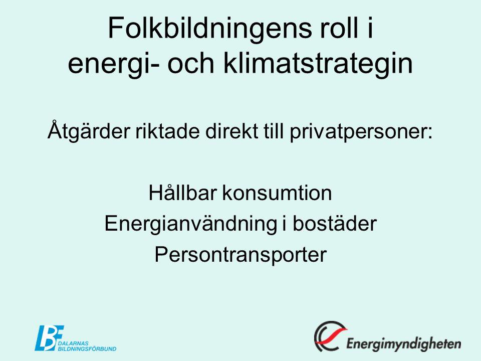 Folkbildningens roll i energi- och klimatstrategin Åtgärder riktade direkt till privatpersoner: Hållbar konsumtion Energianvändning i bostäder Persontransporter