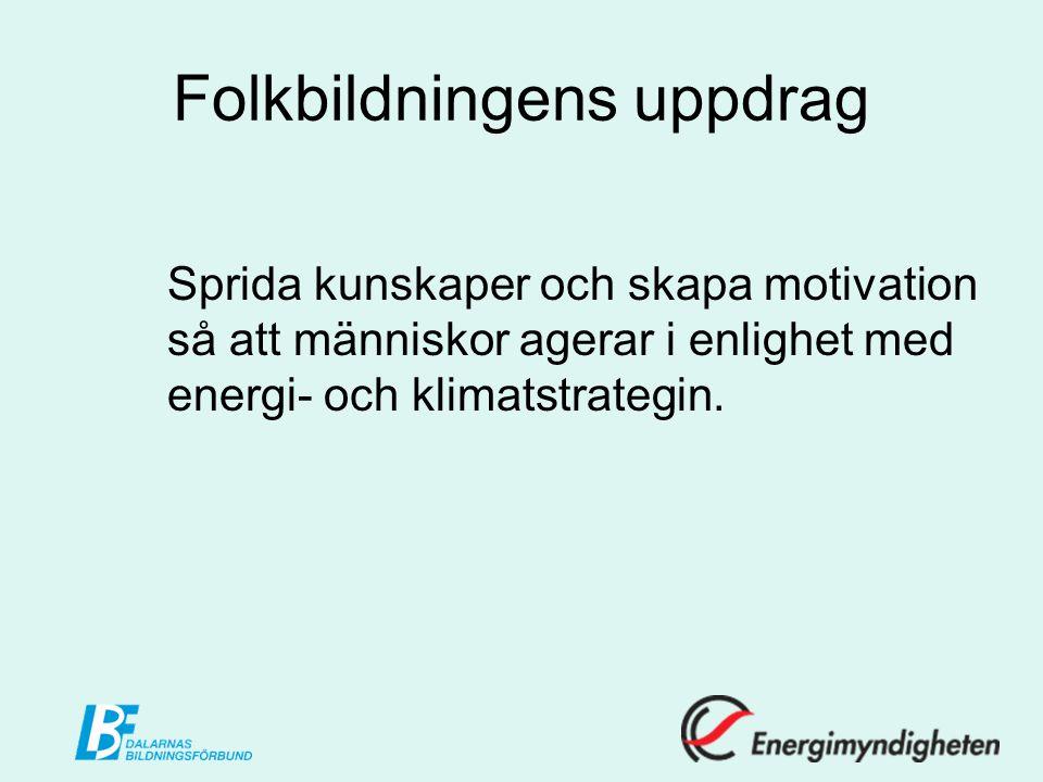 Folkbildningens uppdrag Sprida kunskaper och skapa motivation så att människor agerar i enlighet med energi- och klimatstrategin.