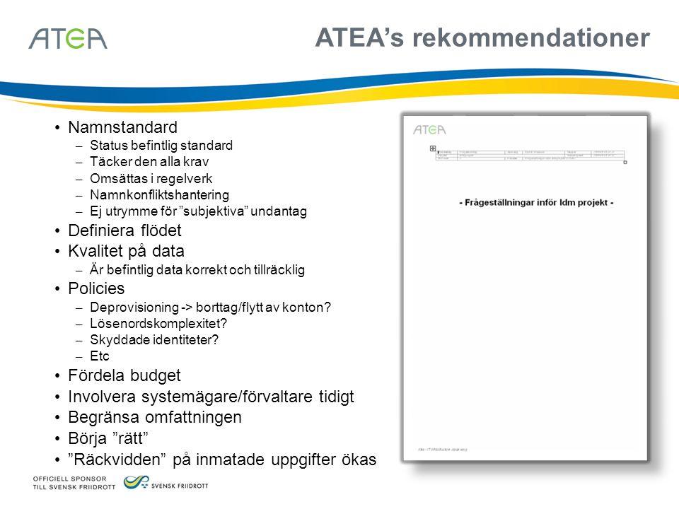 ATEA's rekommendationer Namnstandard – Status befintlig standard – Täcker den alla krav – Omsättas i regelverk – Namnkonfliktshantering – Ej utrymme f