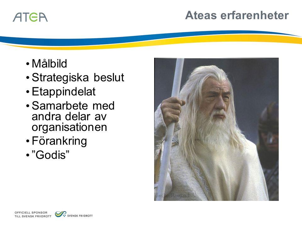 """Ateas erfarenheter Målbild Strategiska beslut Etappindelat Samarbete med andra delar av organisationen Förankring """"Godis"""""""