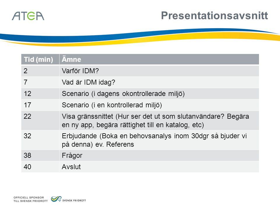 Presentationsavsnitt Tid (min)Ämne 2Varför IDM? 7Vad är IDM idag? 12Scenario (i dagens okontrollerade miljö) 17Scenario (i en kontrollerad miljö) 22Vi