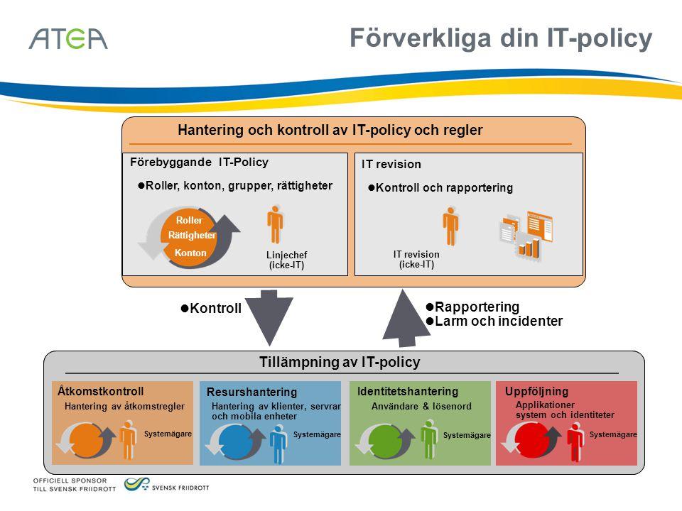 Förverkliga din IT-policy Hantering och kontroll av IT-policy och regler Förebyggande IT-Policy Roller, konton, grupper, rättigheter Linjechef (icke-I