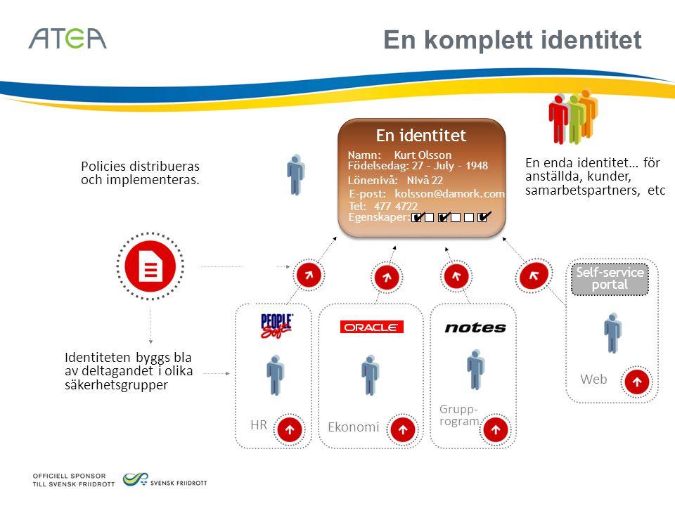 En komplett identitet Policies distribueras och implementeras. En enda identitet… för anställda, kunder, samarbetspartners, etc HR Ekonomi Web Self-se