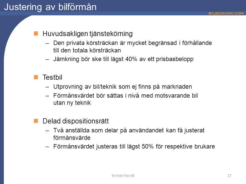 bilekonomi.com Justering av bilförmån Huvudsakligen tjänstekörning –Den privata körsträckan är mycket begränsad i förhållande till den totala körsträc