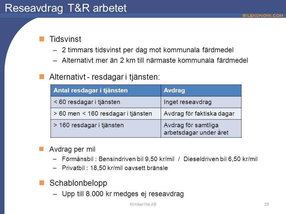 bilekonomi.com Reseavdrag T&R arbetet Tidsvinst –2 timmars tidsvinst per dag mot kommunala färdmedel –Alternativt mer än 2 km till närmaste kommunala