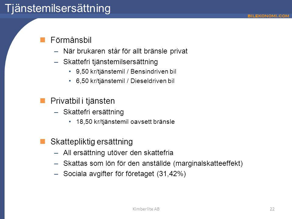 bilekonomi.com Tjänstemilsersättning Förmånsbil –När brukaren står för allt bränsle privat –Skattefri tjänstemilsersättning 9,50 kr/tjänstemil / Bensi
