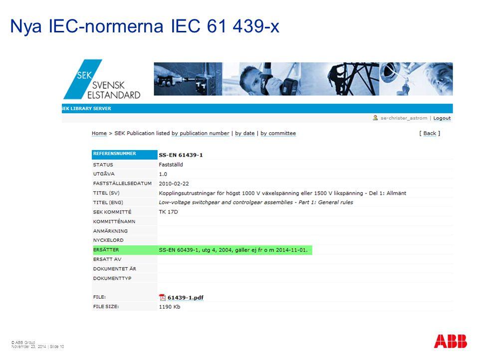 © ABB Group November 23, 2014 | Slide 10 Nya IEC-normerna IEC 61 439-x